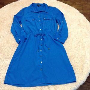 Blue Spense Dress lightweight front tie size 14